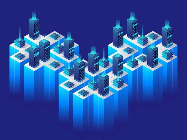 Conceito de tecnologia digital. centro de dados. ilustração isométrica
