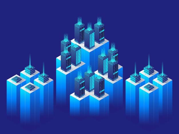 Conceito de tecnologia digital. centro de dados. ilustração isométrica.