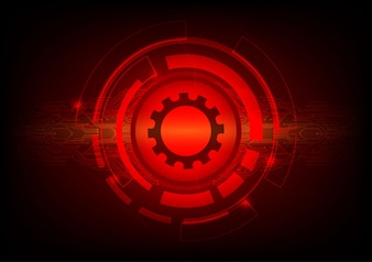 Conceito de tecnologia digital de fundo abstrato de cor vermelha