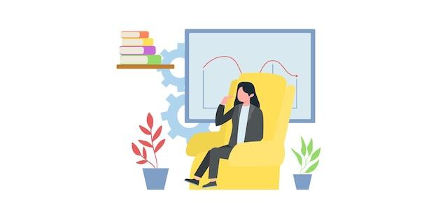 Conceito de tecnologia digital, trabalho com gráficos de negócios, crescimento de carreira para o sucesso. jovem se senta com o laptop e reescreve no bate-papo. ilustração em vetor plana