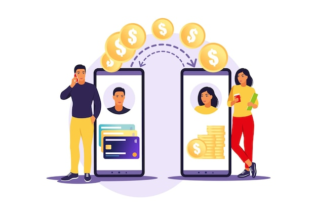 Conceito de tecnologia digital, transações, bancárias, finanças e online. homem transferindo dinheiro via smartphone. ilustração. apartamento.