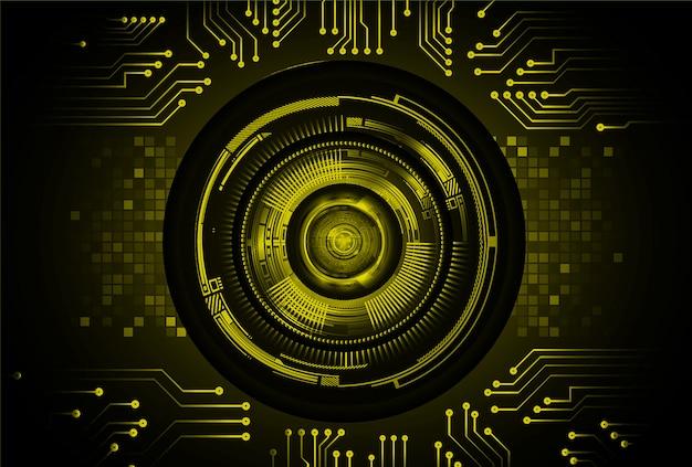 Conceito de tecnologia futura de circuito cibernético de olho amarelo