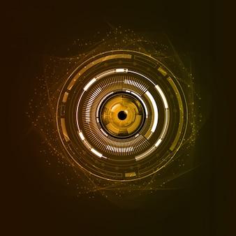 Conceito de tecnologia futura de circuito cibernético de olho laranja