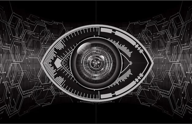 Conceito de tecnologia futura de circuito cibernético de olho roxo