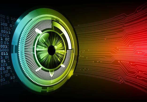 Conceito de tecnologia futura de circuito cibernético de olho vermelho azul