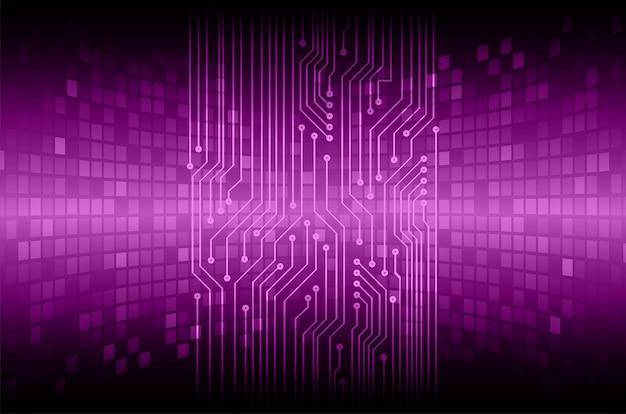 Conceito de tecnologia futura de circuito cibernético roxo