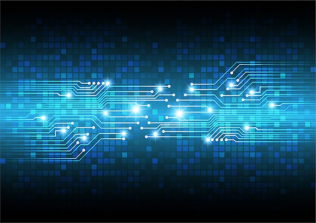 Conceito de tecnologia futura do circuito azul cibernético