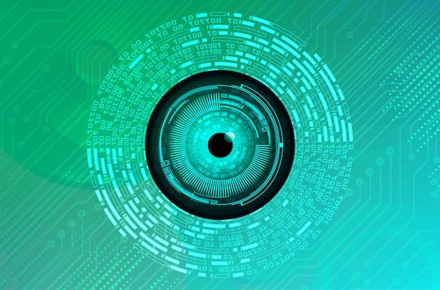 Conceito de tecnologia futura do olho azul verde cyber circuito