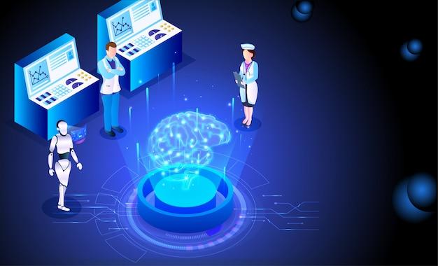 Conceito de tecnologia futurista, robótica, médica.