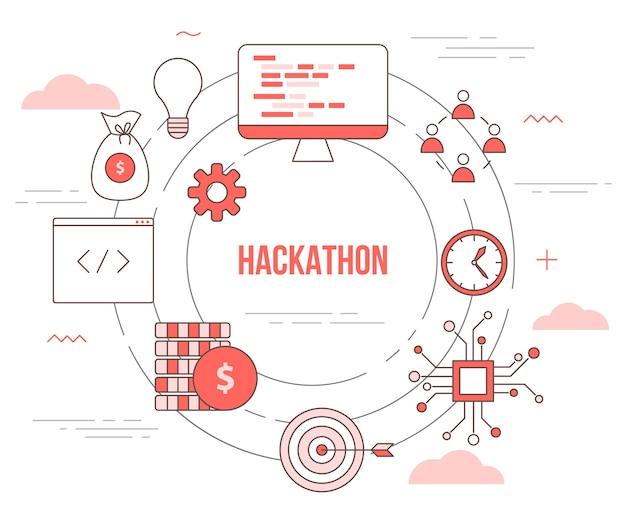 Conceito de tecnologia hackathon com banner de modelo definido com estilo moderno de cor laranja
