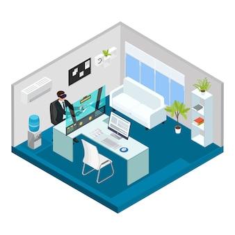 Conceito de tecnologia isométrica moderna com homem jogando com fone de ouvido de realidade virtual no escritório isolado