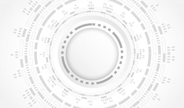 Conceito de tecnologia limpa futurista. fundo de placa de circuito de tecnologia de roda de engrenagem de papel branco