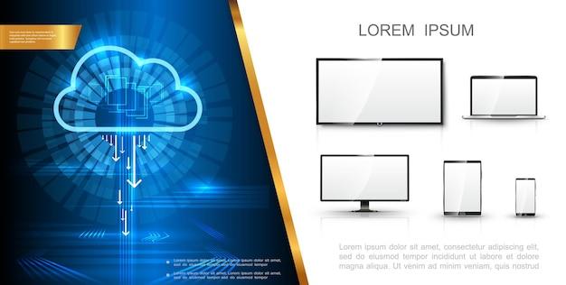 Conceito de tecnologia moderna e realista com armazenamento em nuvem digital, tela de tv, monitor de laptop, telefone e tablet