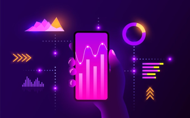 Conceito de tecnologia móvel futurista de alta tecnologia análise de gráficos de tendências de mercado mão segura smartphone