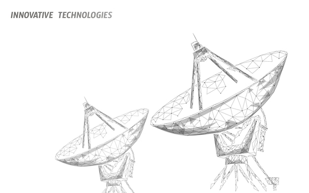 Conceito de tecnologia poligonal de defesa abstrata espaço defesa antena.