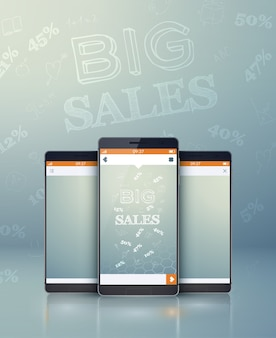 Conceito de tecnologia promocional com dispositivos móveis realistas inscrição de grandes vendas e taxas percentuais