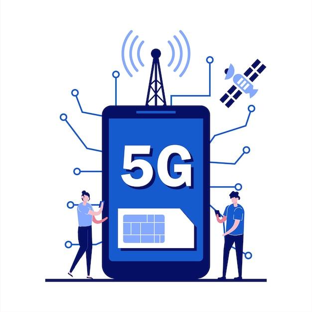 Conceito de tecnologia sem fio de rede 5g com caráter. pessoas com aparelhos usando conexão de internet 5g de extrema alta velocidade.