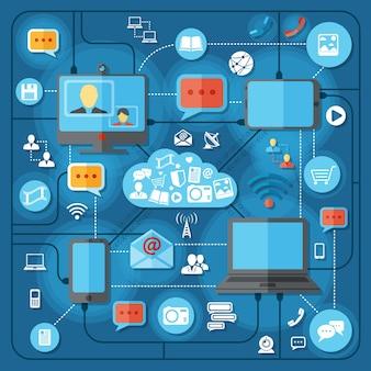 Conceito de tecnologias de comunicação com conexão móvel rede social e elementos vetoriais ilustração vetorial