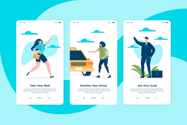 Conceito de telas de aplicativo onboarding de serviço de táxi