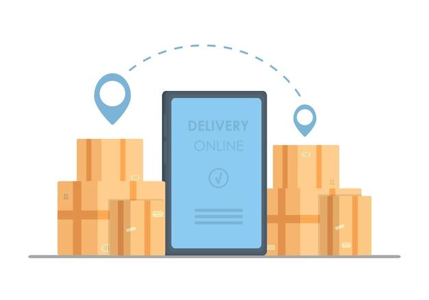 Conceito de telefone de entrega online. envio de pacote de entrega de resposta rápida no celular. compras online