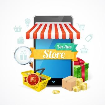 Conceito de telefone móvel de loja online isolado no fundo branco. ilustração vetorial
