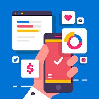 Conceito de telefone móvel de marketing de mídia social