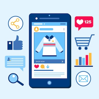 Conceito de telefone móvel de marketing on-line de compras