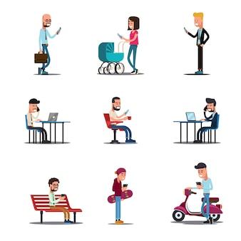 Conceito de telefones móveis de pessoas. ilustração de estilo de vida móvel moderno.