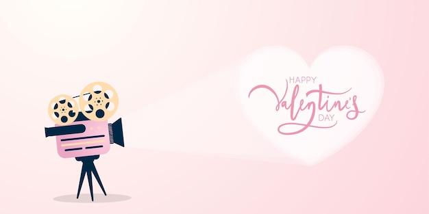 Conceito de tempo de filme adorável com projetor de filme e coração. design de cartão de dia dos namorados. Vetor Premium
