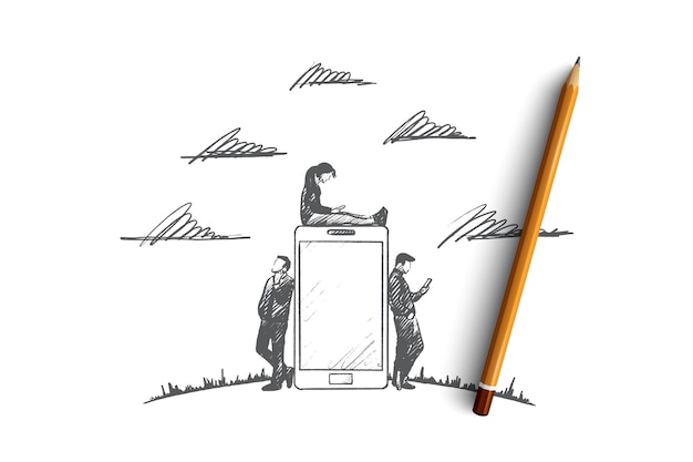 Conceito de tempo de gadgets. mão desenhada pessoas com gadgets. homens e mulheres usando smartphone e tablet. pessoas navegando na ilustração isolada de internet.