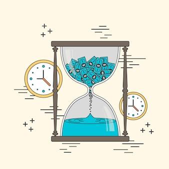 Conceito de tempo é dinheiro: elementos de ampulheta e relógios em estilo de linha