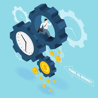 Conceito de tempo é dinheiro em design plano isométrico 3d