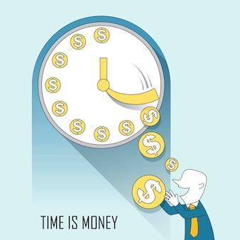Conceito de tempo é dinheiro no estilo de linha fina