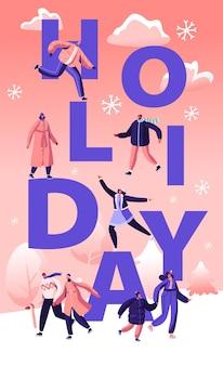 Conceito de temporada festiva de férias de inverno. ilustração plana dos desenhos animados