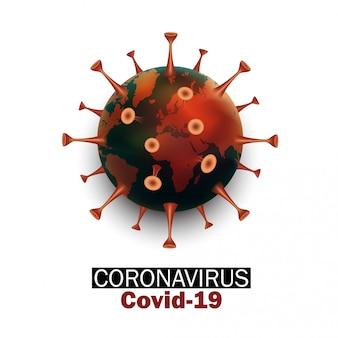 Conceito de terra com estirpe de vírus novo coronavírus 2019-ncov covid-19. conceito de proteção pandêmica de vírus