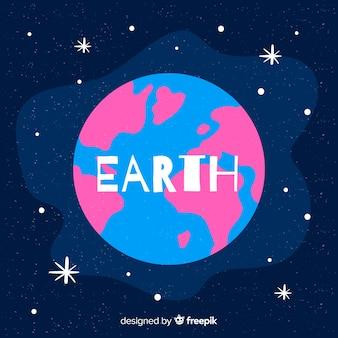 Conceito de terra do planeta com continentes rosa