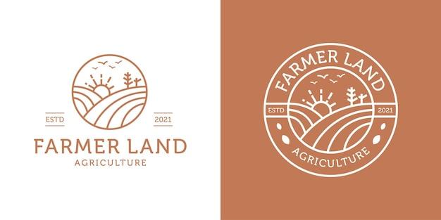 Conceito de terras agrícolas. projeto de logotipo de agricultura, emblema, inspiração de modelo de selo