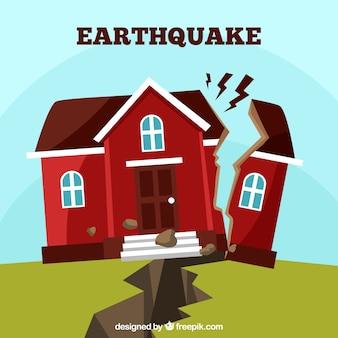 Conceito de terremoto em estilo plano