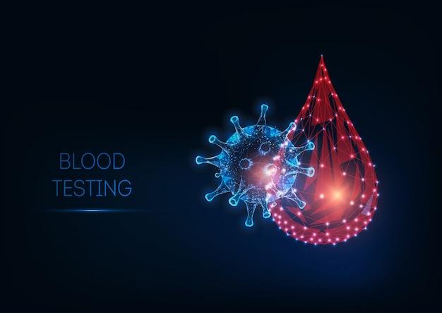 Conceito de teste de sangue poligonal brilhante e futurista