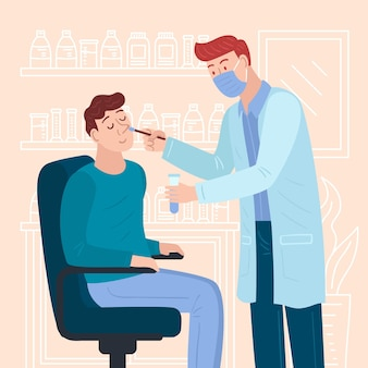 Conceito de teste de zaragatoa nasal