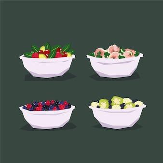 Conceito de tigelas de frutas e salada