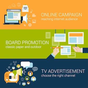 Conceito de tipos de campanha publicitária de estilo simples.