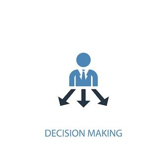 Conceito de tomada de decisão 2 ícone colorido. ilustração do elemento azul simples. projeto de símbolo de conceito de tomada de decisão. pode ser usado para ui / ux da web e móvel