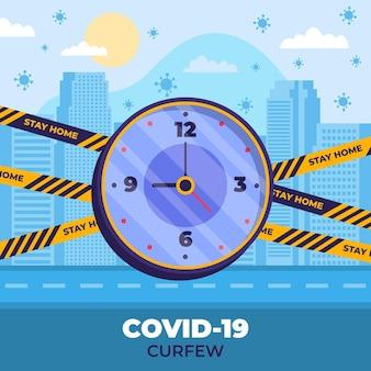 Conceito de toque de recolher do coronavirus
