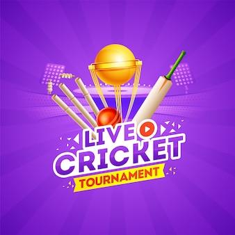 Conceito de torneio de críquete ao vivo com elementos de críquete