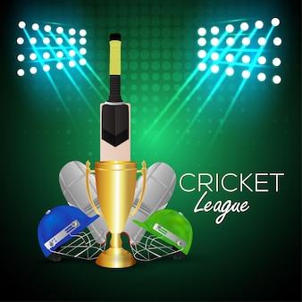 Conceito de torneio de críquete com estádio e troféu