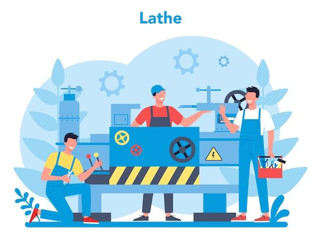 Conceito de torneiro ou torno. operário de fábrica usando máquina de giro para fazer detalhes de metal. metalurgia e fabricação industrial. ilustração em vetor plana isolada