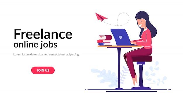 Conceito de trabalhador freelancer. aprendizagem online. uma garota freelancer trabalha em casa ou em qualquer lugar do mundo.