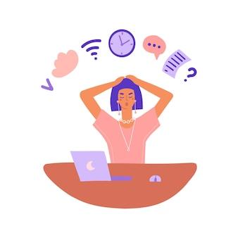 Conceito de trabalhador ocupado: uma mulher se senta em uma mesa e executa várias tarefas ao mesmo tempo, multitarefa ...