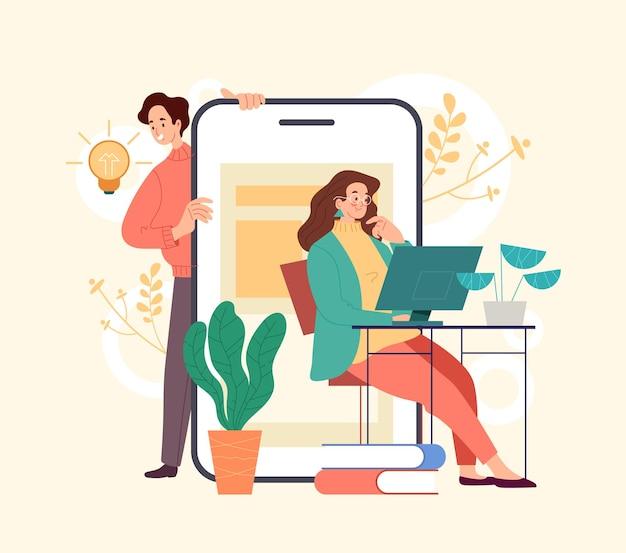 Conceito de trabalhadores de pessoas de escritório de desenvolvimento de ideia de negócio. ilustração de design gráfico de estilo simples e moderno